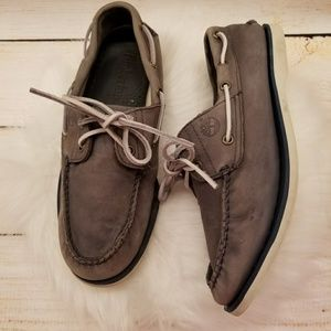 Men's gray Timberland slip on boat style shoes 9